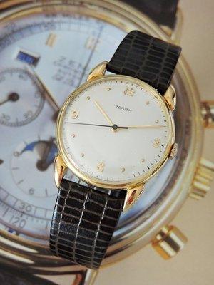 原裝真品 Zenith 真力時 先力 正18K金 典藏手上鍊機械古董錶 男錶