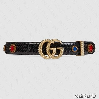 【WEEKEND】 GUCCI Torchon Double G Pytho 腰帶 皮帶 寶石 黑色 550121