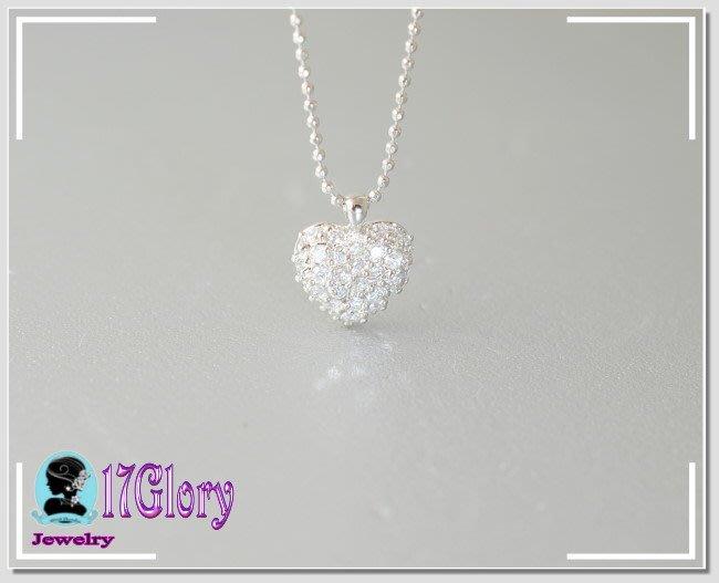 全心滿鑽925純銀項鍊 閃耀真鑽光澤墜鍊 質優柏金美感 情人 生日  告白 閨密 時尚穿搭  #現貨✽ 17Glory✽