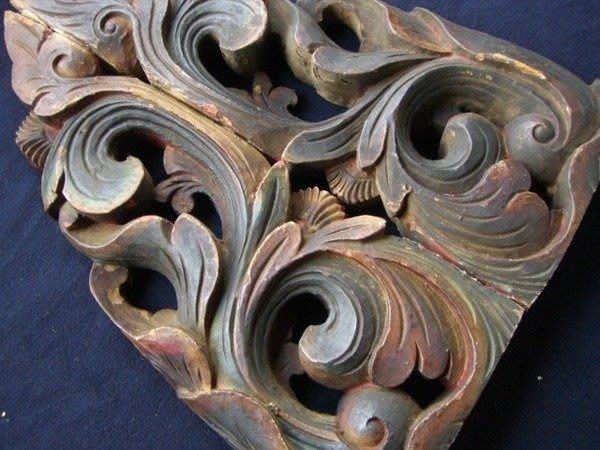 古董雕刻雀替一對