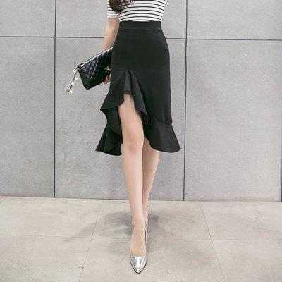 半身裙 連身裙 春夏高腰魚尾裙中長裙半身裙包臀顯瘦不規則荷葉一步裙