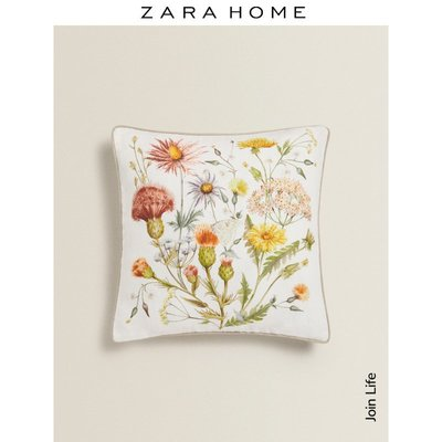 新款寢具抱枕套Zara Home JOIN LIFE系列花卉印花亞麻沙發抱枕靠墊套48713008999