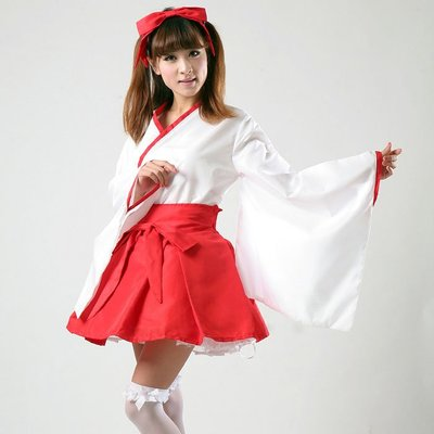 Red kimono cos cosplay clothes japanese Miko uniform outfits