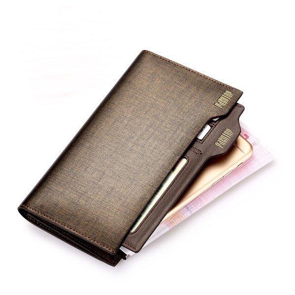 【喜番屋】真皮金砂牛皮多卡位大容量獨立卡位裝手機男士男包多功能拉鍊皮夾皮包錢夾零錢包長夾手拿包手機包【LH87】