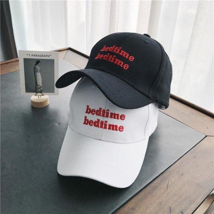 帽子女夏季韓版字母刺繡棒球帽休閒百搭復古黑色鴨舌帽戶外遮陽帽