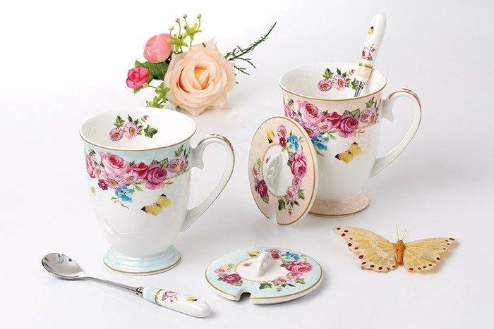 粉紅玫瑰精品屋~高檔英式下午茶玫瑰馬克杯 牛奶杯~
