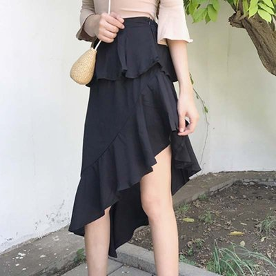 韩版chic高腰荷叶边不规则侧拉链复古女学生a字黑色雪纺半身裙夏