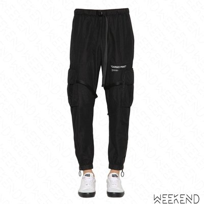 【WEEKEND】 OFF WHITE Quote Cargo Pant 尼龍 休閒 長褲 黑色 18秋冬