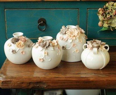 玫瑰花朵陶瓷家居裝飾擺件 美式插花花器 小花瓶