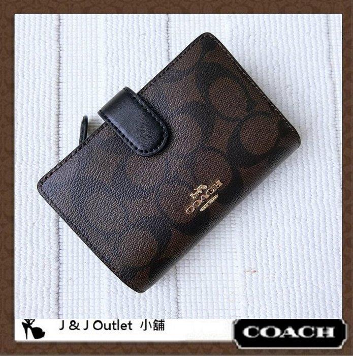 [JJ Outlet 小舖, 現貨在台]全新 Coach 23553 深咖啡色PVC + 皮革多功能中夾/皮夾(附購証)