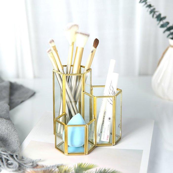 MAJPOINT*化妝筆筒 收納罐 玻璃 刷具美妝 歐式 INS文青 雜貨 居家生活 簡約 道具 商品代購 金色 潮牌