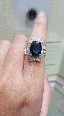 天然藍寶石女戒-V1081