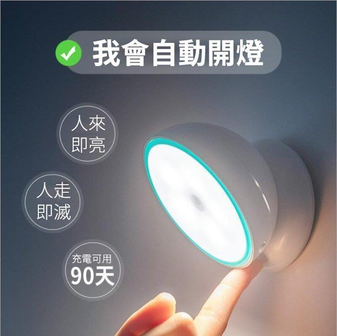 (24小時現貨)充電款 360度LED超節電智能人體感應小夜燈 睡客房樓道智能照明燈【浪漫衣櫥】