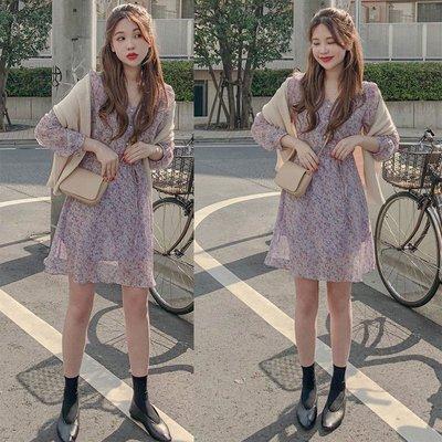 韓國甜美紫色復古碎花長袖收腰小個子雪紡連衣裙