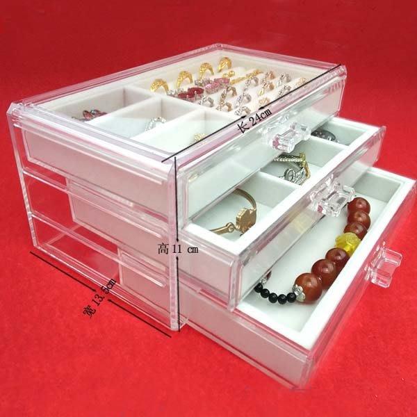 5Cgo【鴿樓】會員有優惠  542435166405 首飾收納盒透明亞克力化妝品收納盒公主手飾品盒戒指盒抽屜式絨布