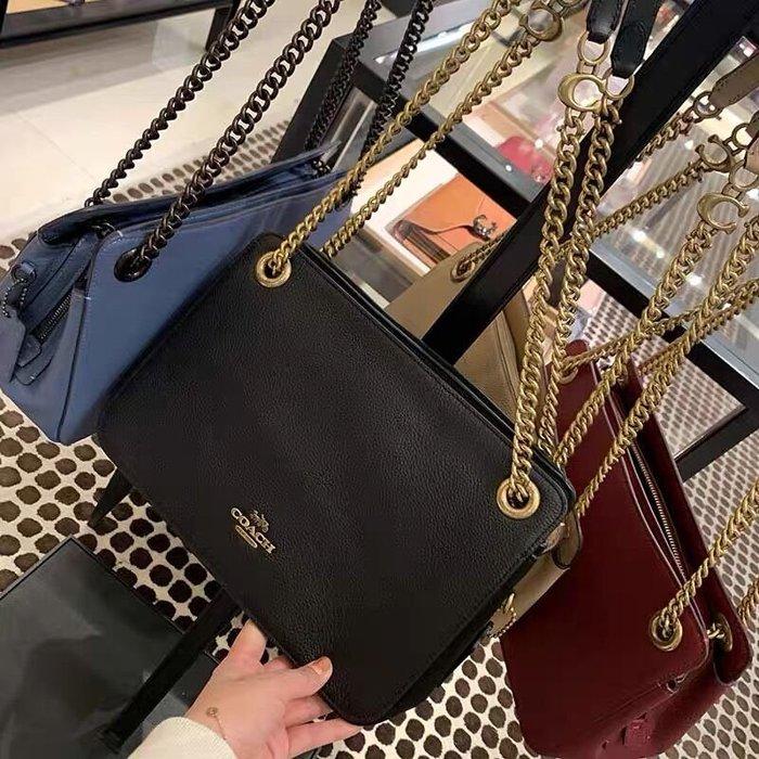 小皮美國正品代購 COACH 79261 新款女士鏈條包 精緻拋光鵝卵石牛皮單肩斜挎包 簡約時尚 附購證