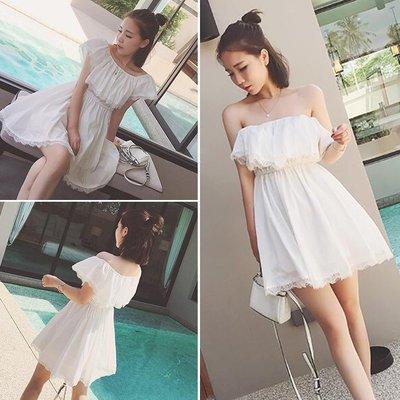 2018夏季女装韩版新款一字领露肩荷叶边短裙收腰雪纺蕾丝连衣裙子