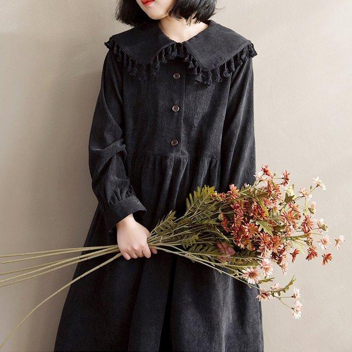 SeyeS {日本空運} 森林系雜誌款歐式流蘇娃娃領燈心絨黑洋裝
