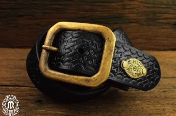 (I LOVE樂多)METALIZE Buckle Press Grain Belt 黃銅基本款編織紋皮帶(黑色)