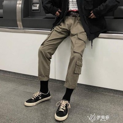 【蘑菇小隊】工裝褲工裝褲女潮牌直筒多口袋顯瘦寬鬆bf中性休閒日繫超火的-MG42203