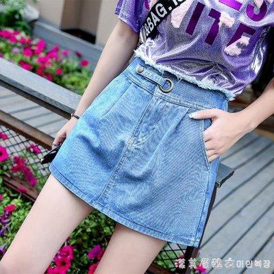 2019夏季新款高腰牛仔短裙褲松緊腰闊腿牛仔褲裙