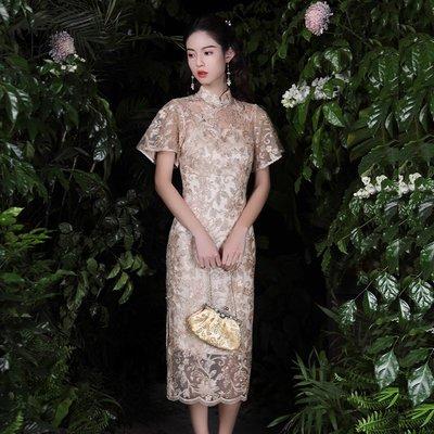 旗袍玉槿歸年新款高端氣質女人味改良式旗袍年輕款長款連衣裙