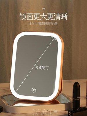 化妝鏡化妝鏡女臺式led帶燈宿舍桌面網紅隨身便攜折疊補光小梳妝鏡子 SHNK