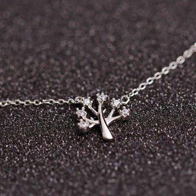 哆啦本鋪 925銀鋯石許愿樹項鏈女清新簡約鎖骨鏈配飾七夕情人節禮物D655