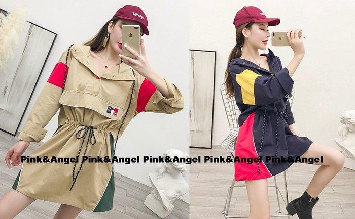 ❤Pink&Angel❤【34370】韓版中長款休閒拼色繫帶收腰顯瘦連帽休閒風連身裙。2色。現+預