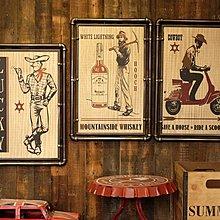 LOFT工業風美式鄉村西部牛仔海報掛畫鐵質水管畫複古店鋪裝飾畫(15款可選)