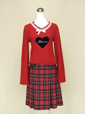 ◄貞新►youths&maidens 紅色蕾絲V領長袖棉質上衣F號+韓 紅色格紋棉質百褶裙M號(61506)