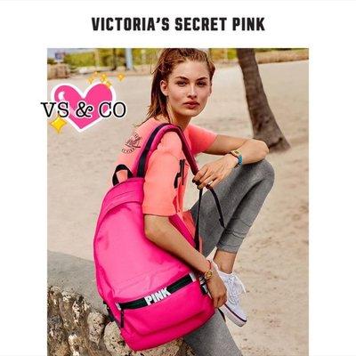 ❤️ 敗家無罪 ❤️美國outlet代購 維多利亞秘密VS Pink系列螢光撞色帆布後背包 電腦包 媽媽包