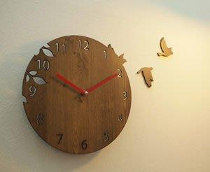 Growlife 種生活 ▶韓國 Unminuto - Bird Basic 候鳥木紋掛鐘 /時鐘/壁鐘/木鐘/圓鐘/造型鐘