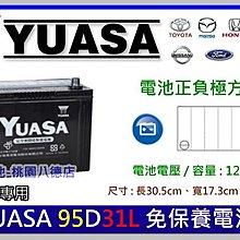 ☆銓友電池☆桃園電池☆實體店面 YUASA 95D31L 免保養汽車電池 TUCSON SANTAFE