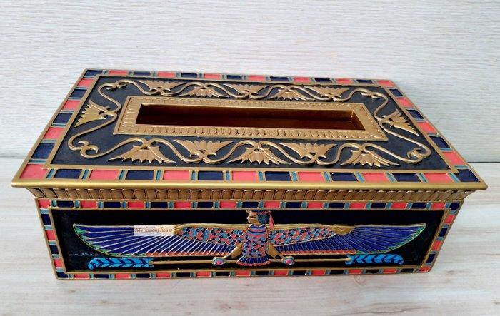 點點蘑菇屋 歐洲精品彩繪埃及雙翅人圖案面紙盒二 面紙套 紙巾盒 抽取式衛生紙盒 古埃及古文 圖騰 藝術家飾 現貨 免運費