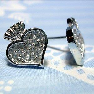 琥珀貓銀飾DIY【925純銀飾品】耳飾~耳針~N9954~BlingBling愛心~一對