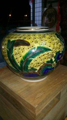 拼人氣,賠售出清,早期收藏,日本青玉,九谷燒,花瓶,青以作,手工彩繪