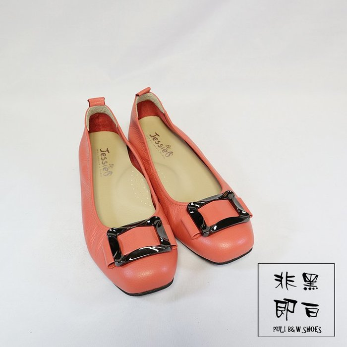 【非黑即白】#零碼#MIT舒適真皮柔軟波浪方框設計女娃娃鞋 平底鞋 低跟鞋 西瓜紅 橘色 310315