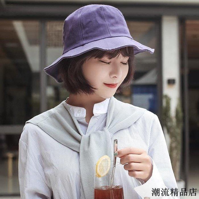 漁夫帽女夏季韓版潮日系百搭小清新防曬可折疊簡約純色盆帽子