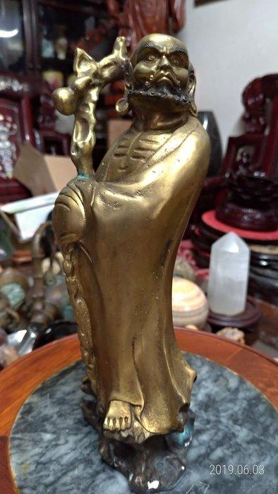 中國銅雕達摩/高23公分寬9公分深7公分重1.2公斤/全館商品滿5件或滿6000元免運費