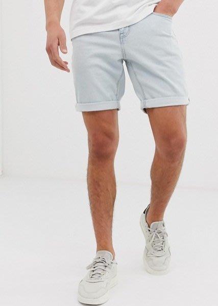 ◎美國代買◎ASOS反摺褲口淺藍刷色復古仿舊淺水藍反摺牛仔短褲~歐美街風~大尺碼