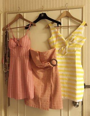 Lot of 2 dresses of Line&Dot+Speechless/細肩帶條紋洋裝+平口條紋木釦洋裝