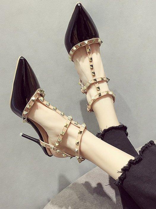 小尤家~高跟鞋女夏季新款細跟尖頭羅馬鞋韓版性感百搭鉚釘網紅涼鞋潮