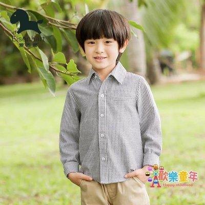 男童襯衫長袖棉質春秋裝新款童裝中大童條紋立領襯衣韓版潮衣