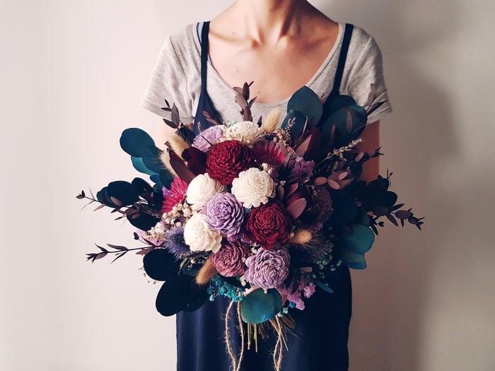 D07。紫紅藍色系乾燥花捧花。拍照捧花。頭花。客製新娘捧花。台北自取【Flower&House花藝之家】