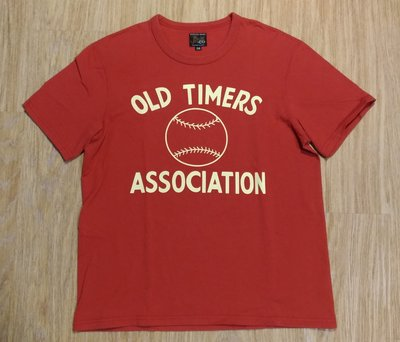 近全新日本製The Real McCoy's Joe McCoy OLD TIMERS 棒球圖案紅色滾筒短T