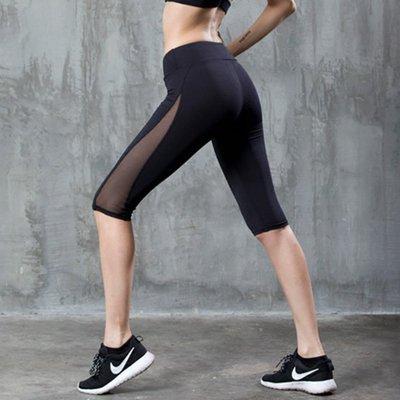 七分褲 網紗七分運動健身褲女顯瘦彈力緊身瑜伽褲速乾透氣健身房跑步中褲E 現貨--馬甲線