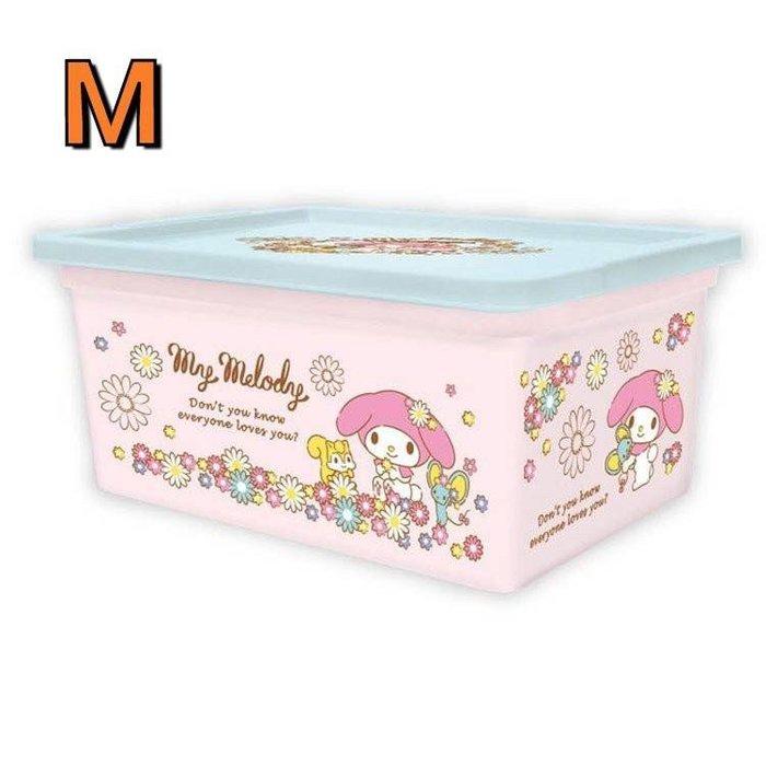 【莓莓小舖】正版 ♥ Sanrio 三麗鷗 Melody 美樂蒂 帶蓋收納箱 置物箱附蓋 M號