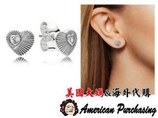 美國大媽代購 Pandora 潘朵拉  鑲鑽新款復古愛心耳環 925純銀 Charms 美國代購