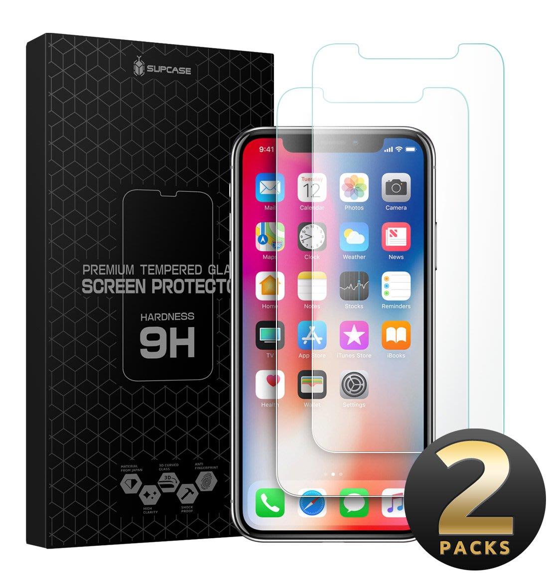 小花精品店-美國SUPCASE蘋果iPhone11 X/XR/Xs Max高清鋼化玻璃保護膜兩片裝